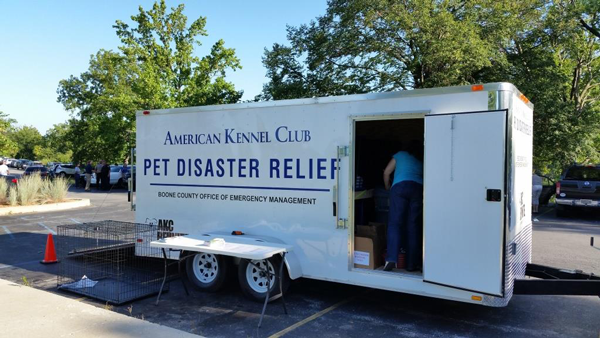 Going in AKC Pet Disaster Trailer in Missouri