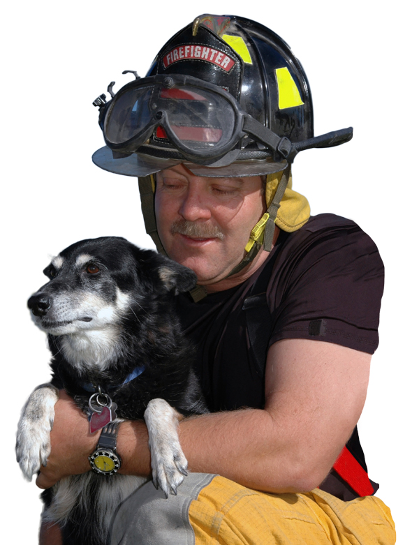 Fireman Holding Dog After a Disaster